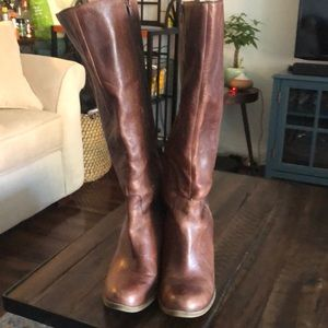 Stacked heel, Lucky Brand, distressed boots